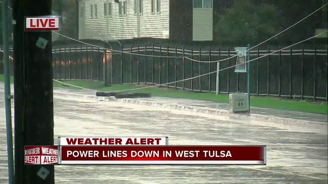 Power lines down in west Tulsa