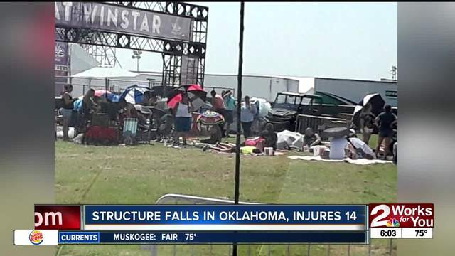 Fourteen BSB fans were hurt in Thackerville due to a strong storm