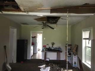 Family's rental home roof caves in