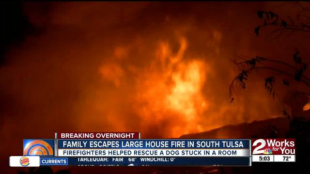 family escapes large house fire in south tulsa kjrh com