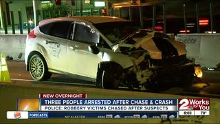 Robbery victims chase after suspect, cause crash
