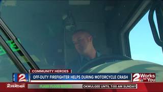 Off-duty firefighter helps motorcyclist