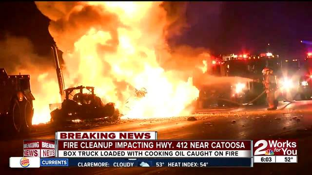 Truck carrying oil erupts in flames near Catoosa