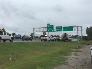 Semi truck overturns on Interstate 244