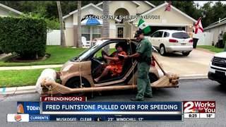 Fred Flintstone pulled over for speeding